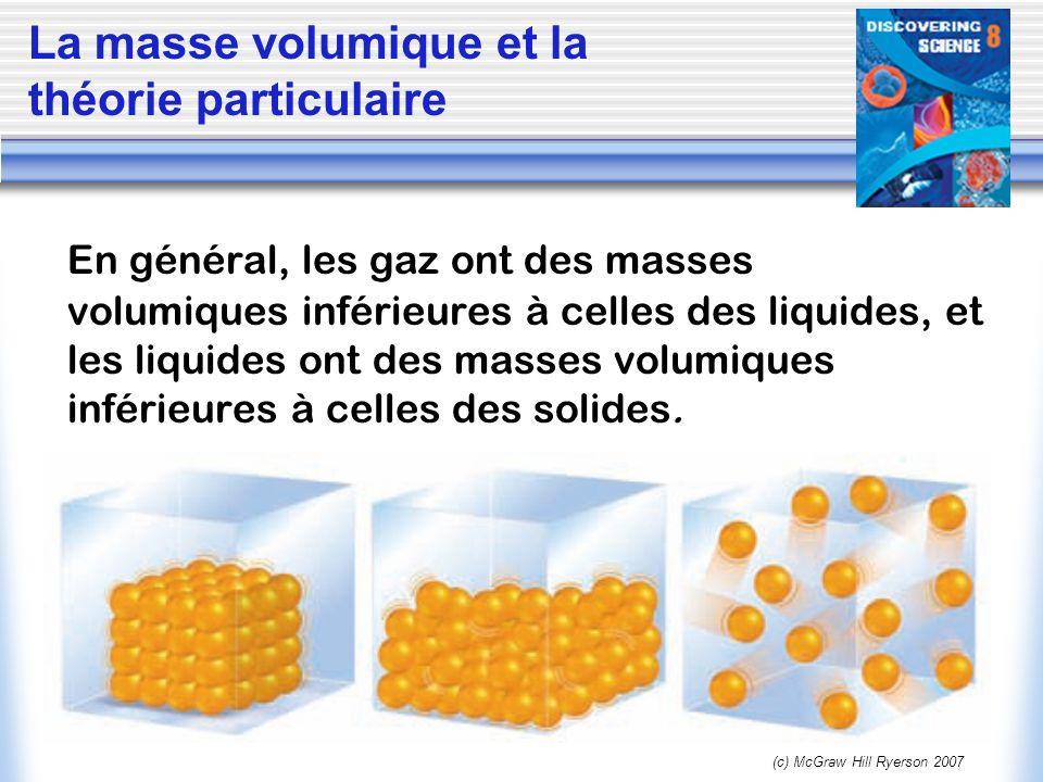 (c) McGraw Hill Ryerson 2007 En général, les gaz ont des masses volumiques inférieures à celles des liquides, et les liquides ont des masses volumique