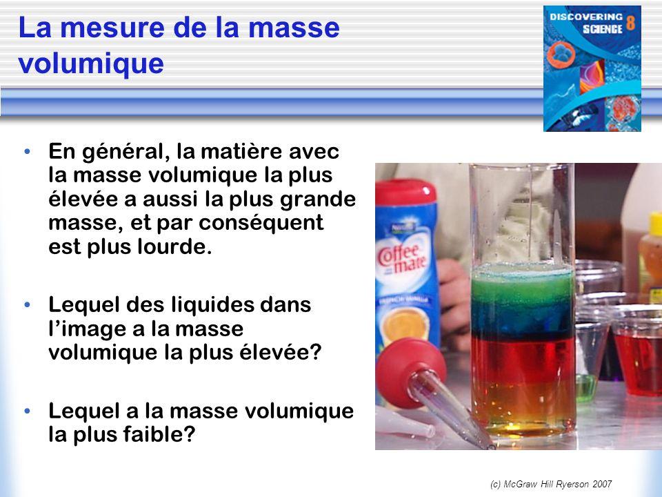 (c) McGraw Hill Ryerson 2007 La mesure de la masse volumique Des objets peuvent avoir la même masse, mais une différente masse volumique.
