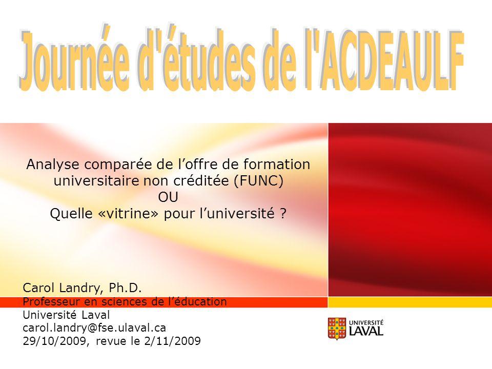 Analyse comparée de loffre de formation universitaire non créditée (FUNC) OU Quelle «vitrine» pour luniversité .