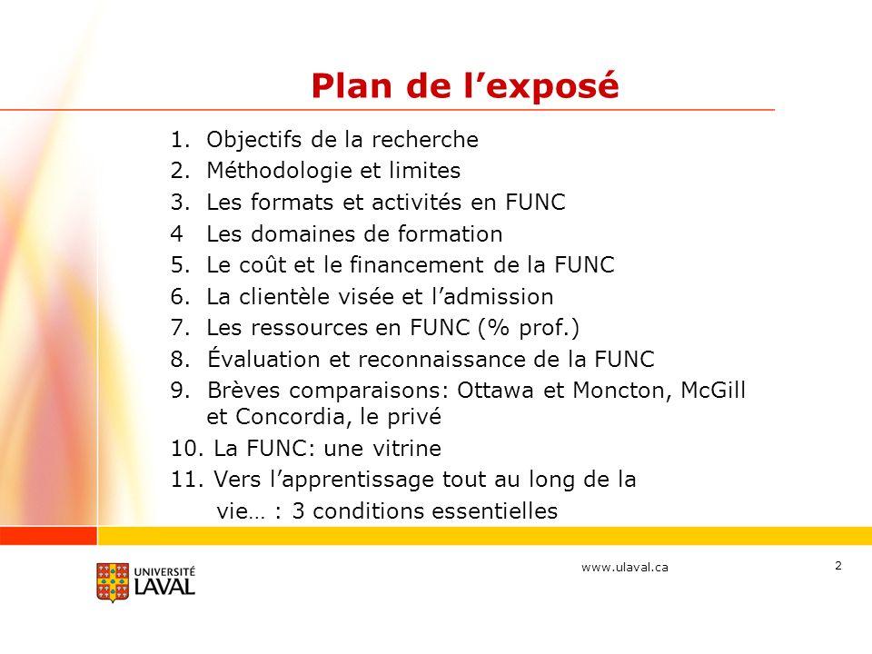 www.ulaval.ca 2 Plan de lexposé 1.Objectifs de la recherche 2.Méthodologie et limites 3.Les formats et activités en FUNC 4 Les domaines de formation 5.Le coût et le financement de la FUNC 6.