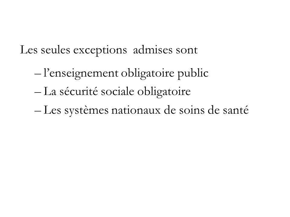 Les seules exceptions admises sont –lenseignement obligatoire public –La sécurité sociale obligatoire –Les systèmes nationaux de soins de santé