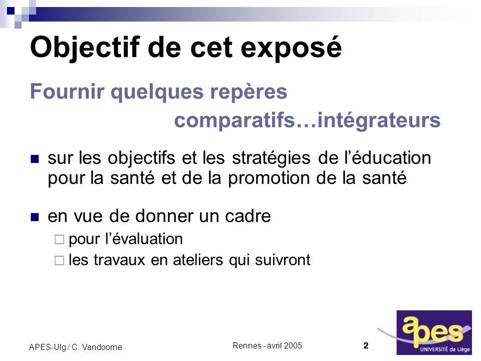 Rennes - avril 2005 2 APES-Ulg / C.