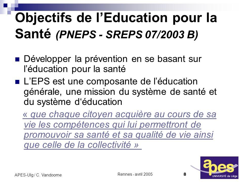 Rennes - avril 2005 8 APES-Ulg / C.