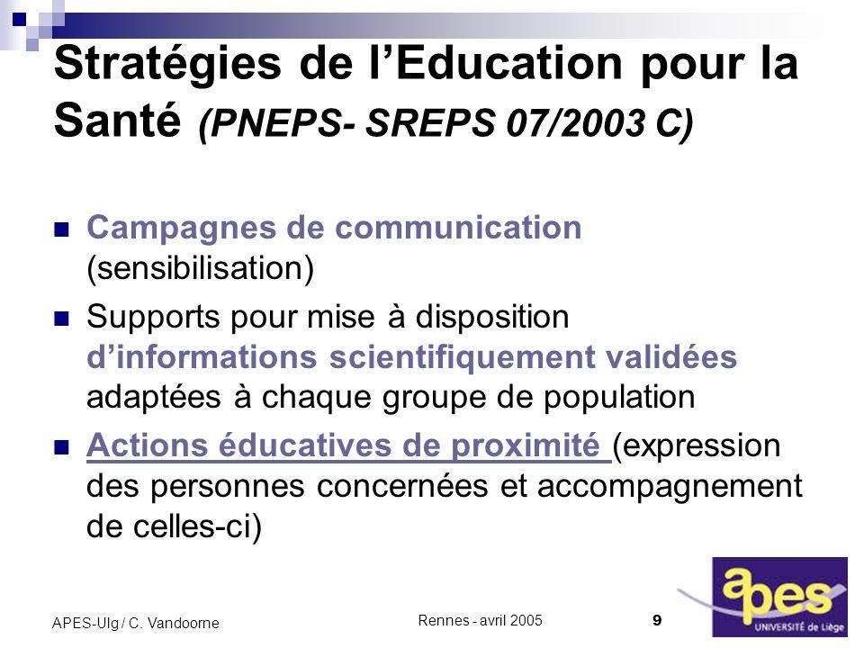 Rennes - avril 2005 9 APES-Ulg / C.