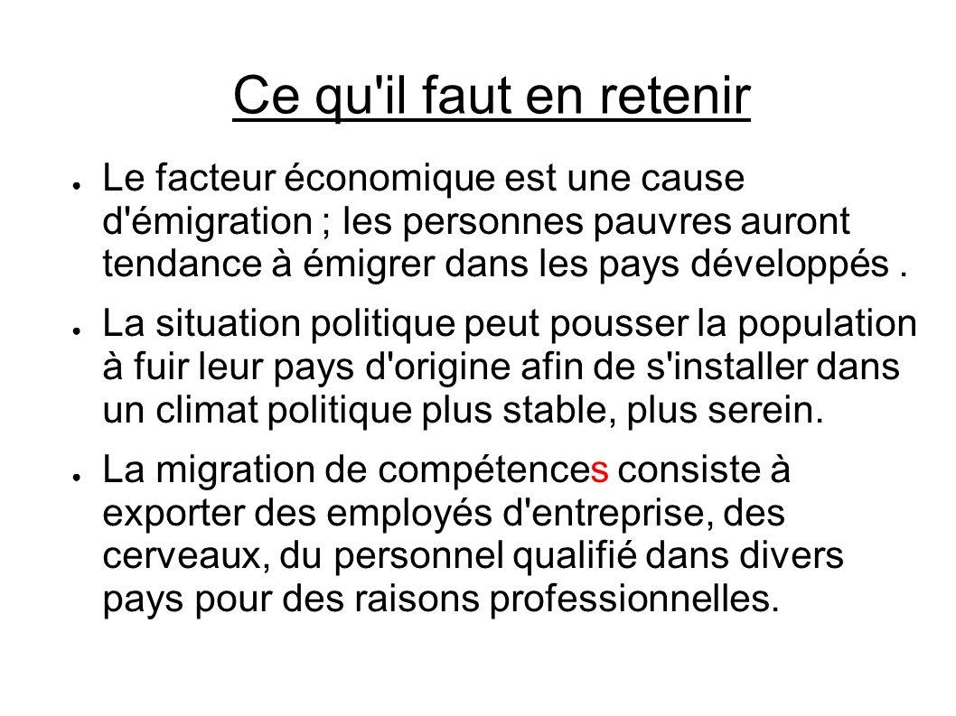 Ce qu'il faut en retenir Le facteur économique est une cause d'émigration ; les personnes pauvres auront tendance à émigrer dans les pays développés.
