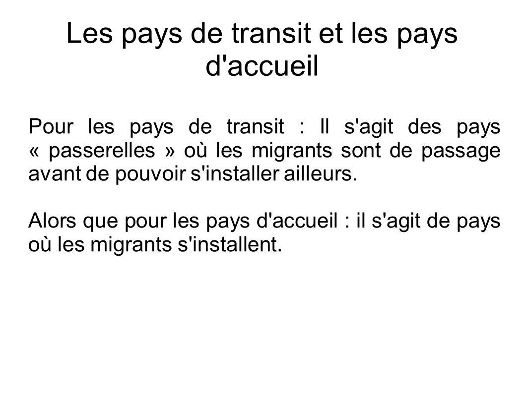 Les pays de transit et les pays d'accueil Pour les pays de transit : Il s'agit des pays « passerelles » où les migrants sont de passage avant de pouvo