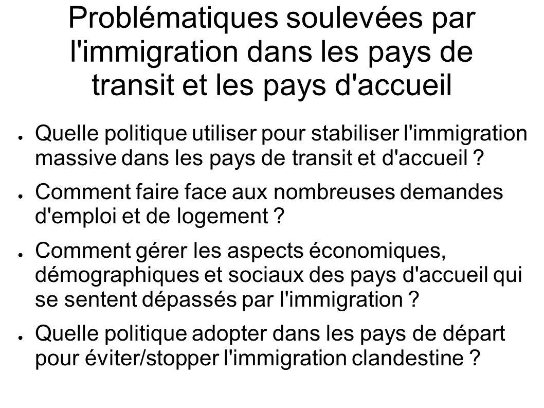 Problématiques soulevées par l'immigration dans les pays de transit et les pays d'accueil Quelle politique utiliser pour stabiliser l'immigration mass