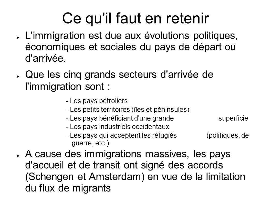 Ce qu'il faut en retenir L'immigration est due aux évolutions politiques, économiques et sociales du pays de départ ou d'arrivée. Que les cinq grands