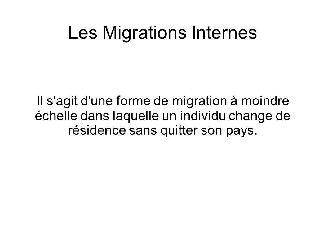 Les Migrations Internes Il s'agit d'une forme de migration à moindre échelle dans laquelle un individu change de résidence sans quitter son pays.