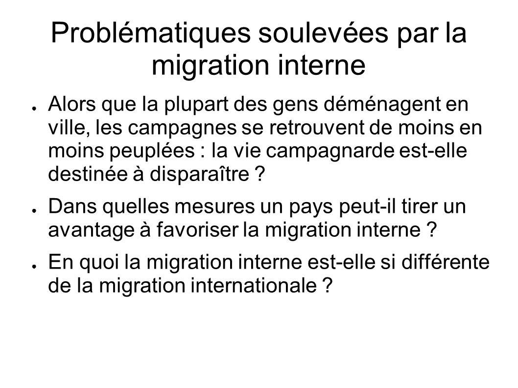 Problématiques soulevées par la migration interne Alors que la plupart des gens déménagent en ville, les campagnes se retrouvent de moins en moins peu