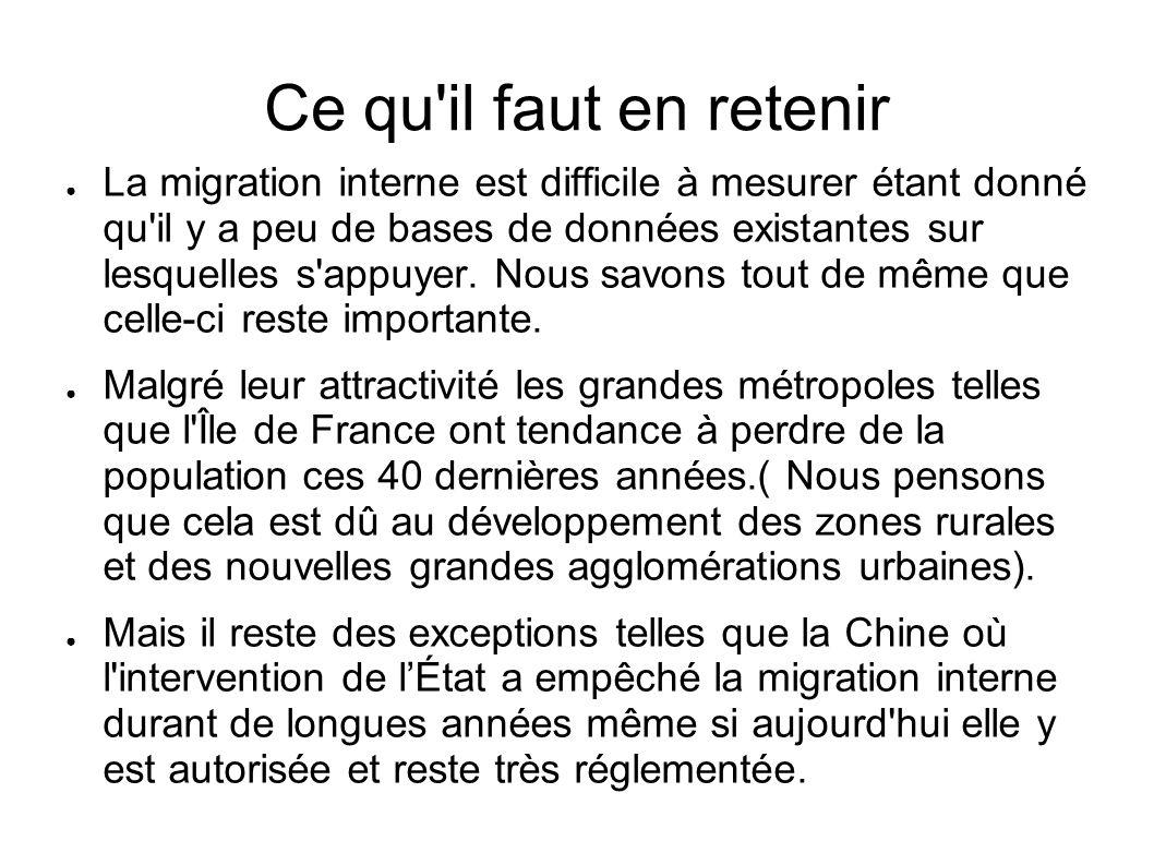 Ce qu'il faut en retenir La migration interne est difficile à mesurer étant donné qu'il y a peu de bases de données existantes sur lesquelles s'appuye