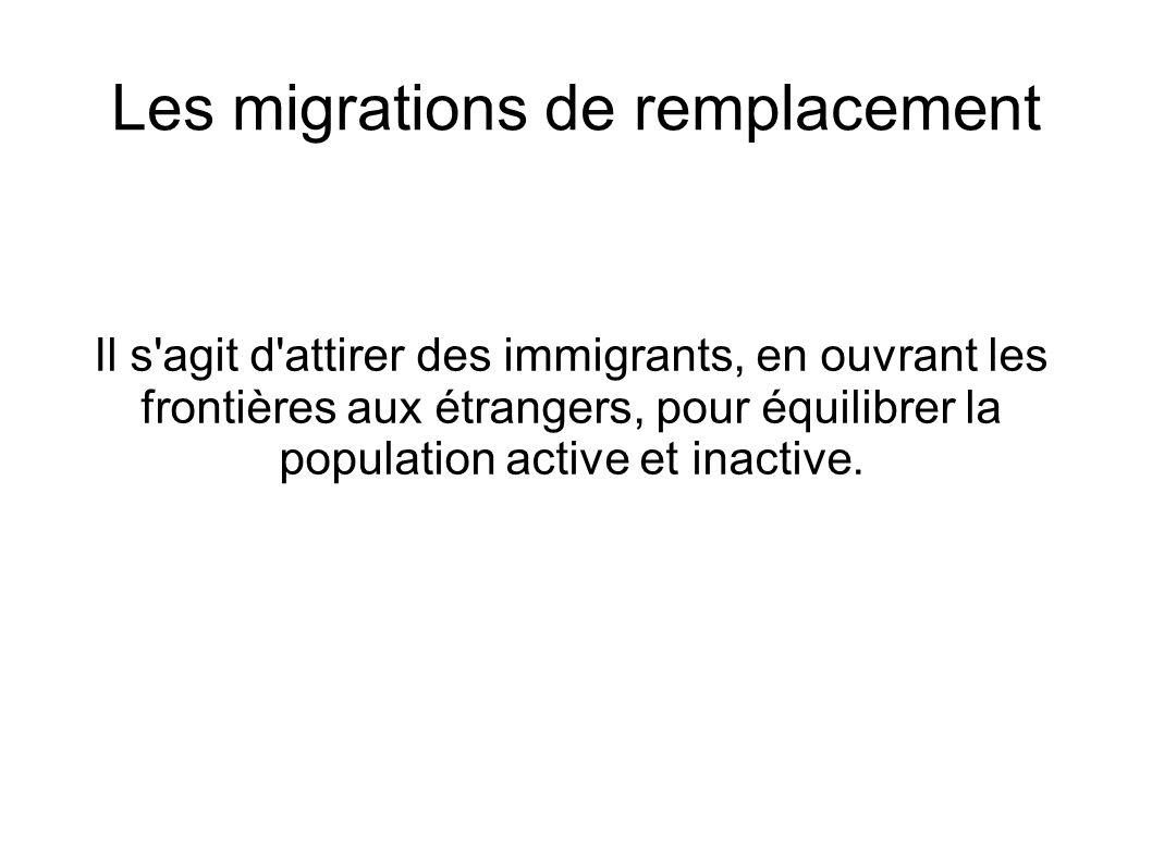 Les migrations de remplacement Il s'agit d'attirer des immigrants, en ouvrant les frontières aux étrangers, pour équilibrer la population active et in