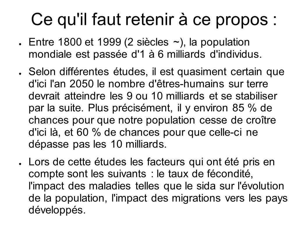Ce qu'il faut retenir à ce propos : Entre 1800 et 1999 (2 siècles ~), la population mondiale est passée d'1 à 6 milliards d'individus. Selon différent
