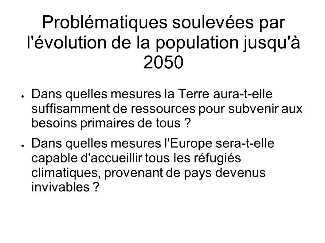 Problématiques soulevées par l'évolution de la population jusqu'à 2050 Dans quelles mesures la Terre aura-t-elle suffisamment de ressources pour subve