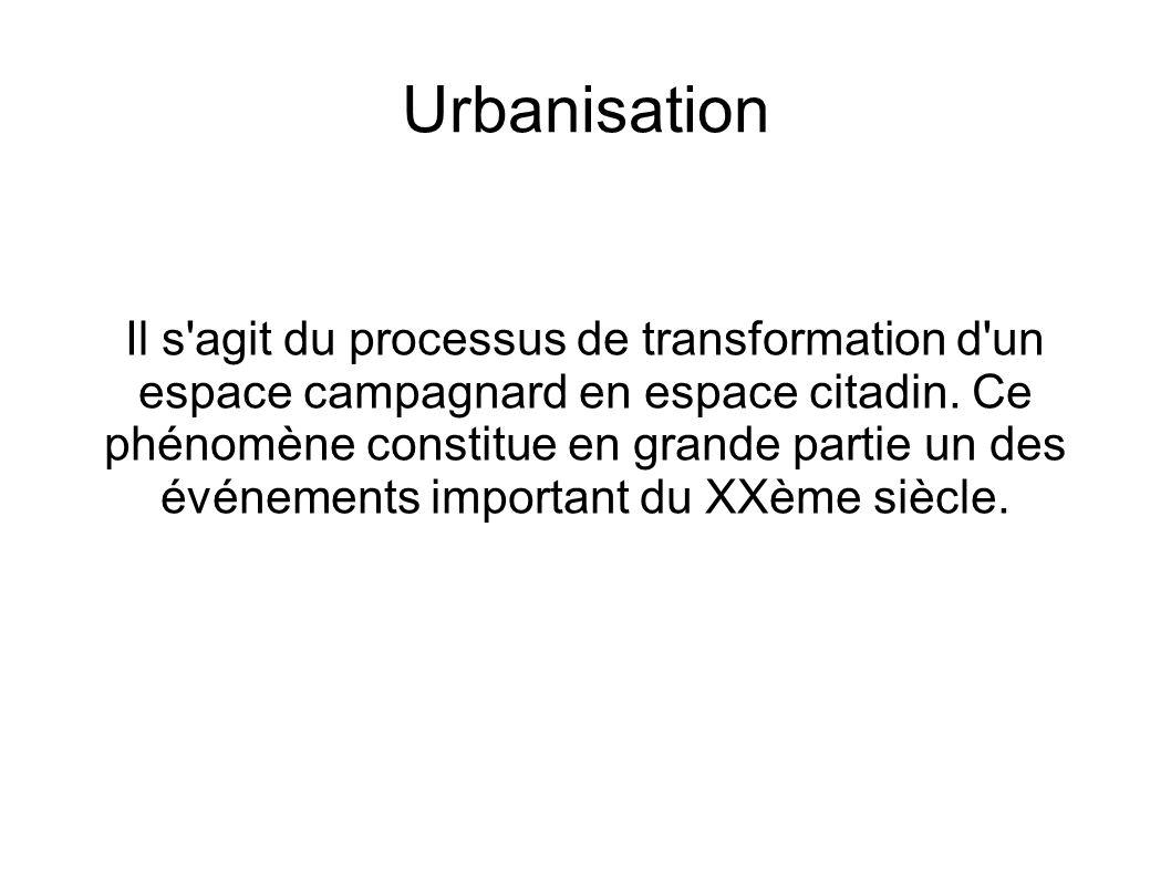 Urbanisation Il s'agit du processus de transformation d'un espace campagnard en espace citadin. Ce phénomène constitue en grande partie un des événeme