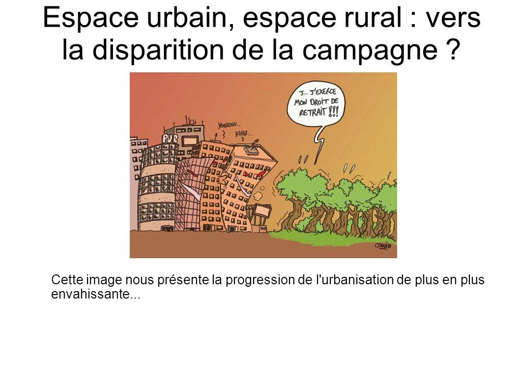 Espace urbain, espace rural : vers la disparition de la campagne ? Cette image nous présente la progression de l'urbanisation de plus en plus envahiss