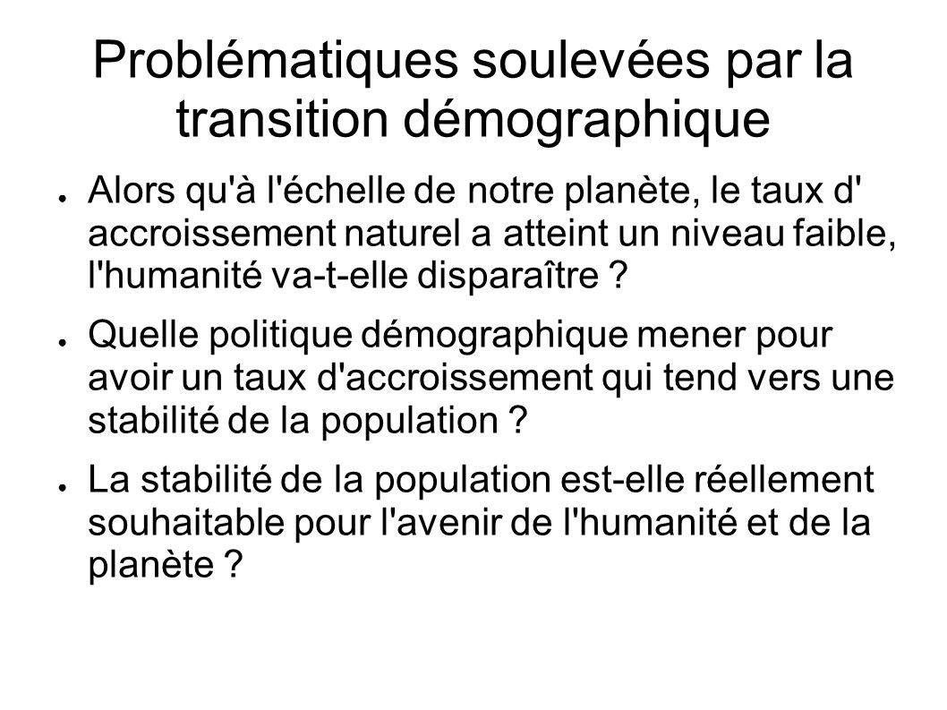 Problématiques soulevées par la transition démographique Alors qu'à l'échelle de notre planète, le taux d' accroissement naturel a atteint un niveau f