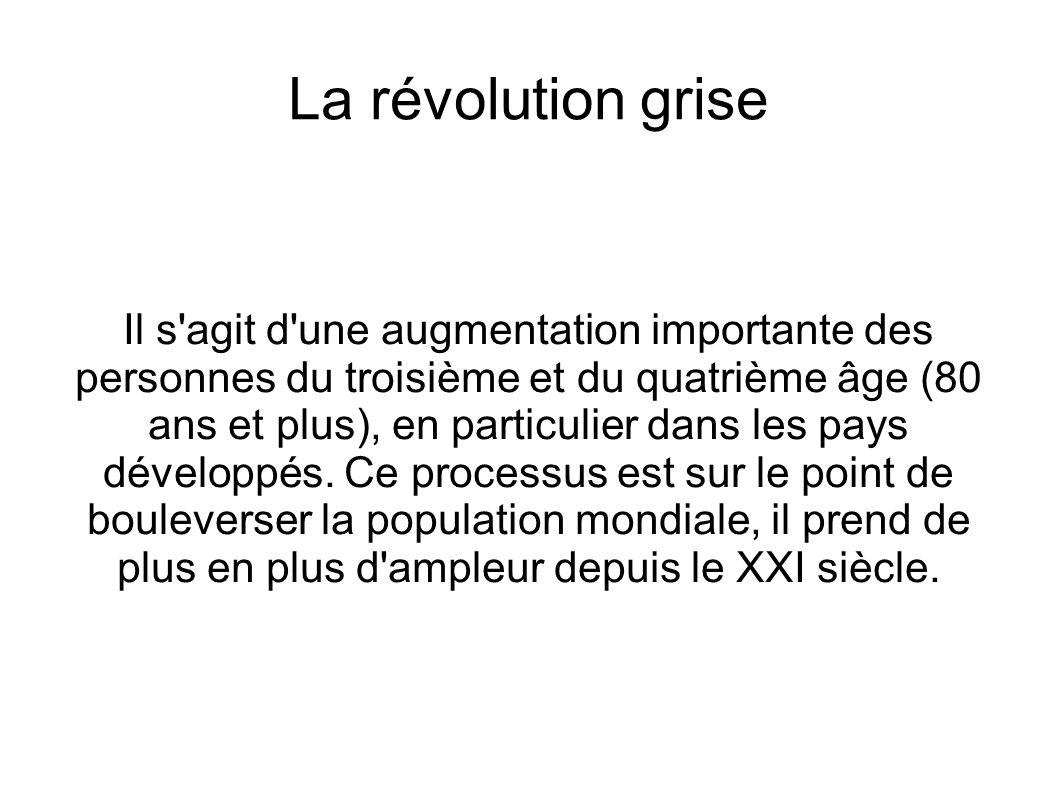 La révolution grise Il s'agit d'une augmentation importante des personnes du troisième et du quatrième âge (80 ans et plus), en particulier dans les p