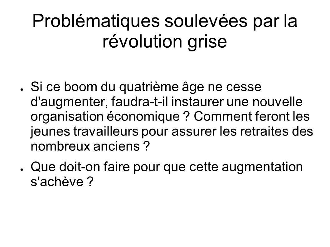 Problématiques soulevées par la révolution grise Si ce boom du quatrième âge ne cesse d'augmenter, faudra-t-il instaurer une nouvelle organisation éco
