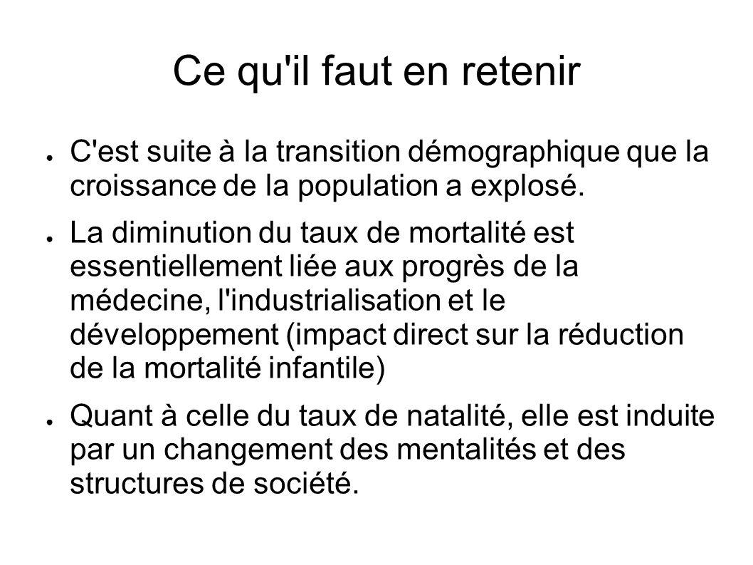 Ce qu'il faut en retenir C'est suite à la transition démographique que la croissance de la population a explosé. La diminution du taux de mortalité es