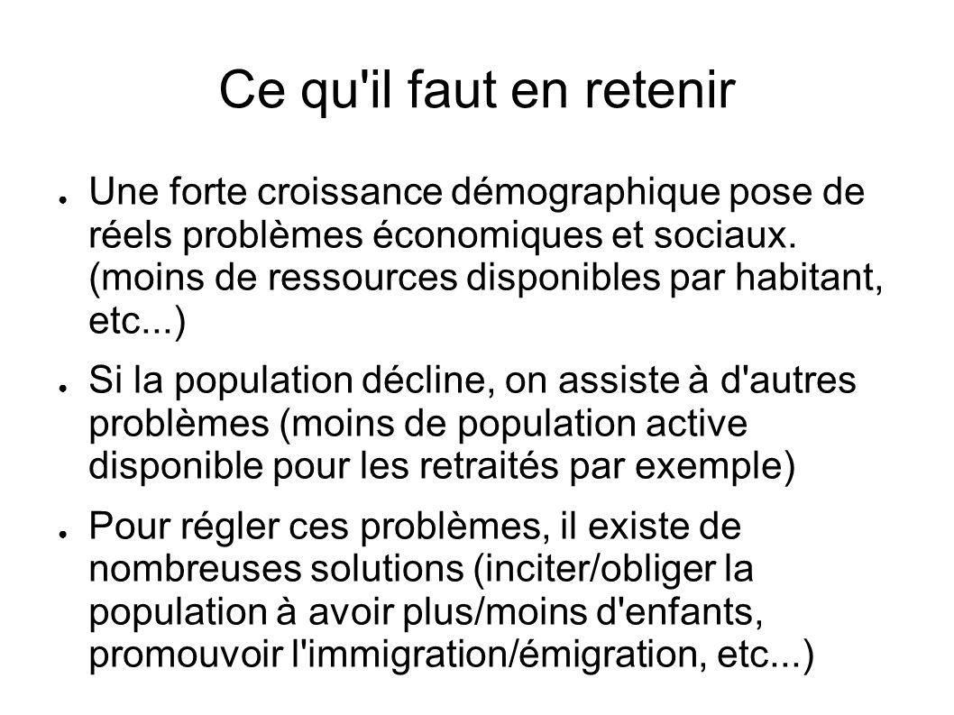 Ce qu'il faut en retenir Une forte croissance démographique pose de réels problèmes économiques et sociaux. (moins de ressources disponibles par habit