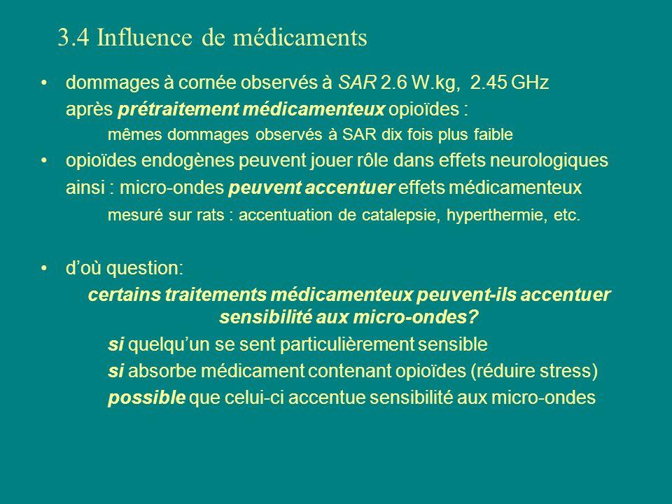 dommages à cornée observés à SAR 2.6 W.kg, 2.45 GHz après prétraitement médicamenteux opioïdes : mêmes dommages observés à SAR dix fois plus faible op