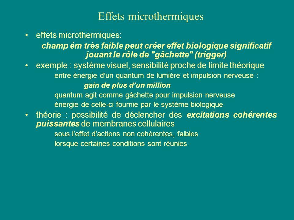effets microthermiques: champ ém très faible peut créer effet biologique significatif jouant le rôle de