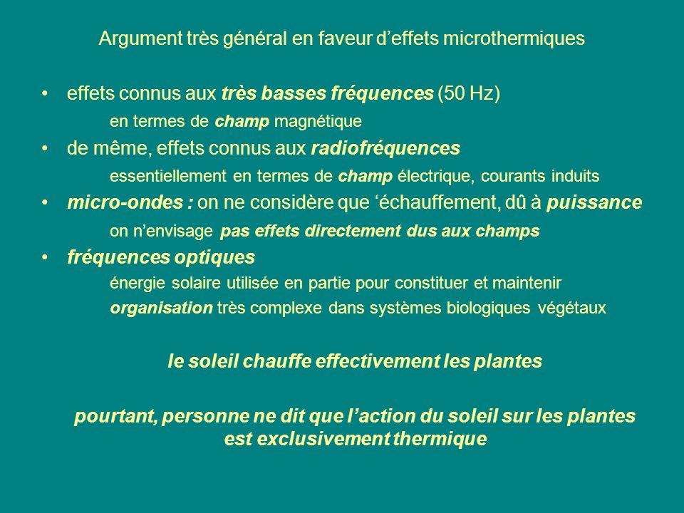 Argument très général en faveur deffets microthermiques effets connus aux très basses fréquences (50 Hz) en termes de champ magnétique de même, effets