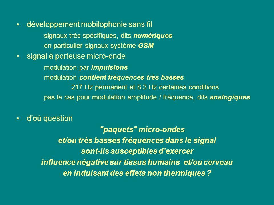 développement mobilophonie sans fil signaux très spécifiques, dits numériques en particulier signaux système GSM signal à porteuse micro-onde modulati