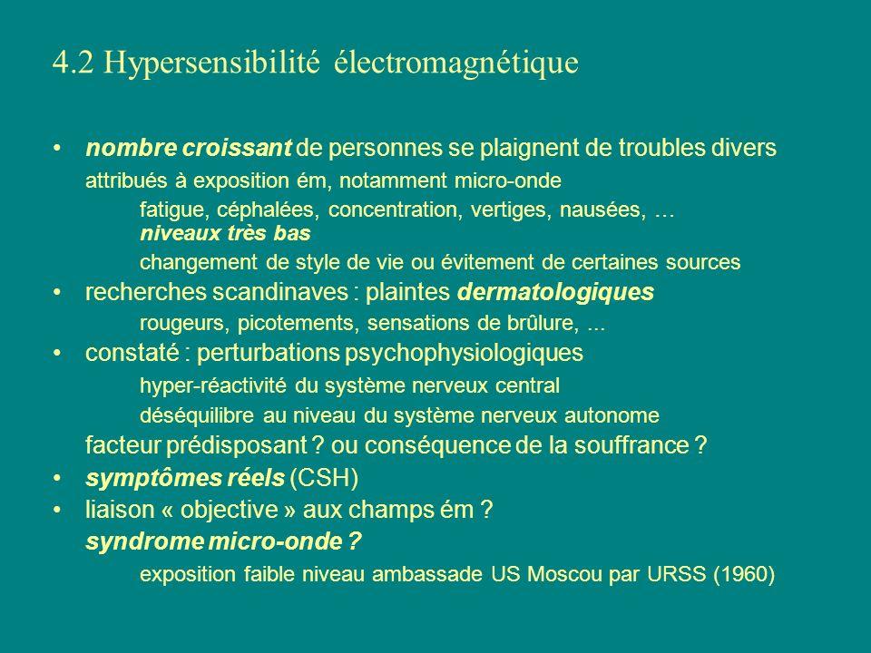 4.2 Hypersensibilité électromagnétique nombre croissant de personnes se plaignent de troubles divers attribués à exposition ém, notamment micro-onde f