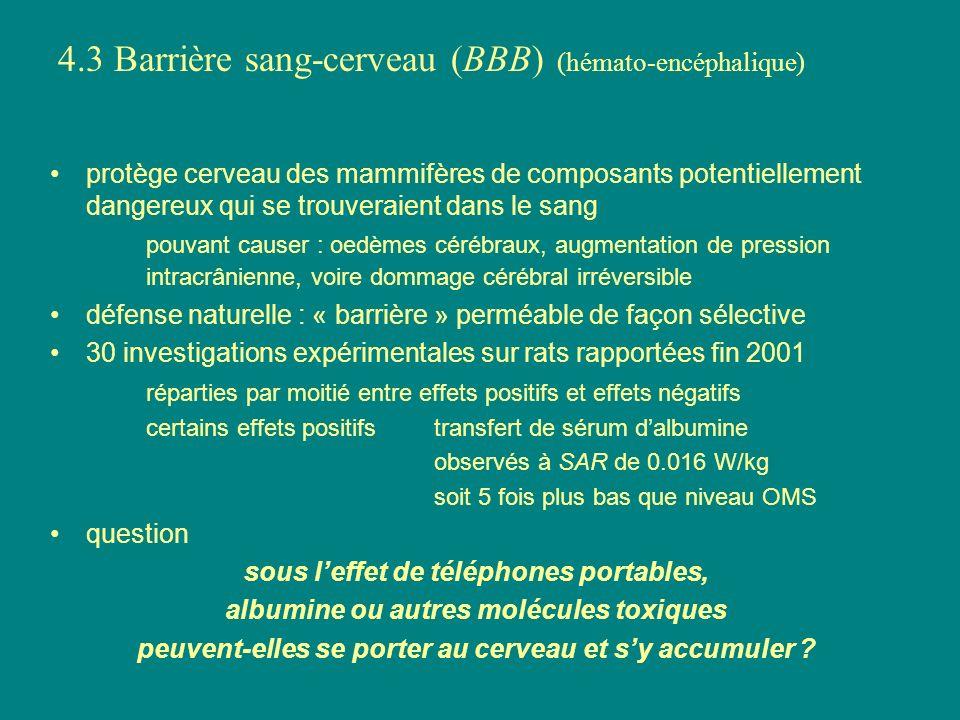 4.3 Barrière sang-cerveau (BBB) (hémato-encéphalique) protège cerveau des mammifères de composants potentiellement dangereux qui se trouveraient dans