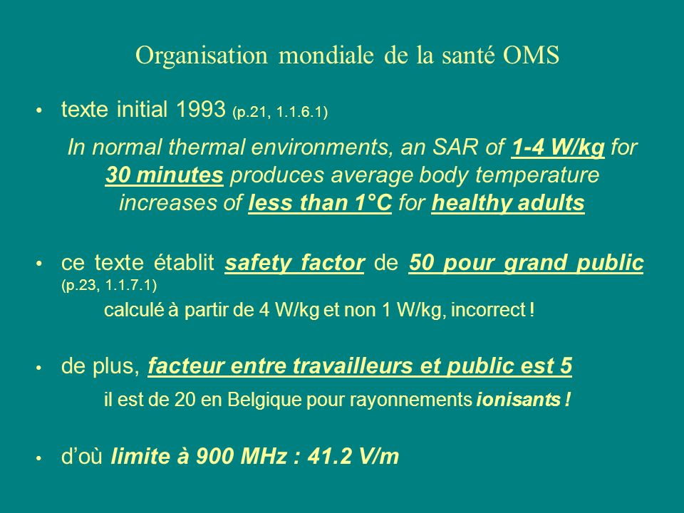texte initial 1993 (p.21, 1.1.6.1) In normal thermal environments, an SAR of 1-4 W/kg for 30 minutes produces average body temperature increases of le