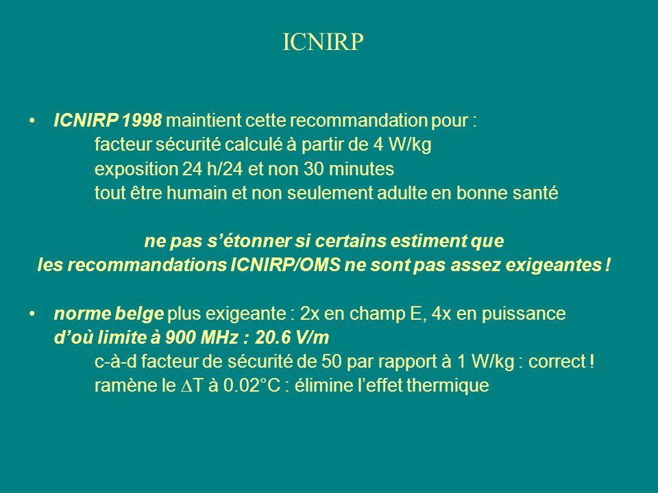 ICNIRP 1998 maintient cette recommandation pour : facteur sécurité calculé à partir de 4 W/kg exposition 24 h/24 et non 30 minutes tout être humain et