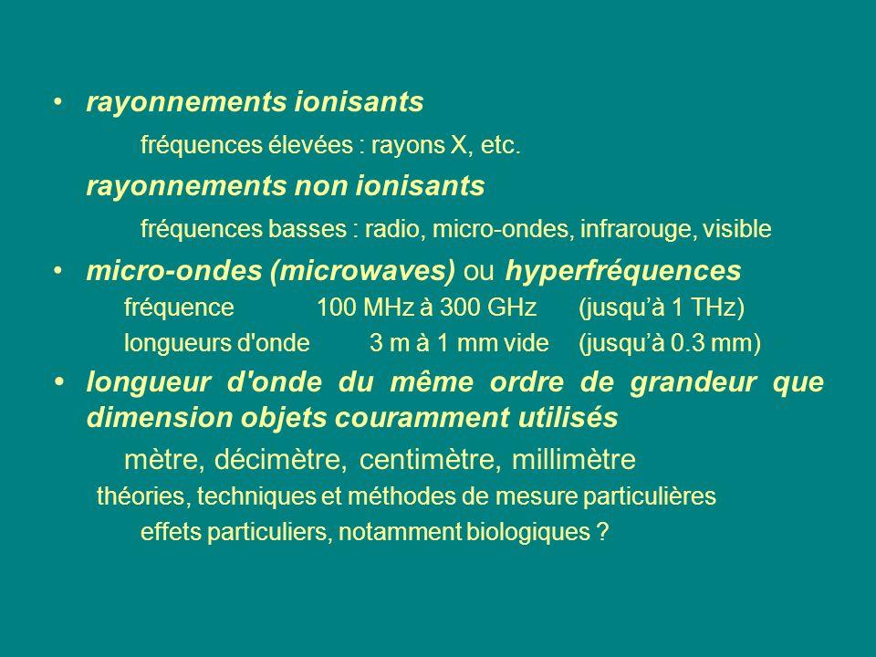 rayonnements ionisants fréquences élevées : rayons X, etc. rayonnements non ionisants fréquences basses : radio, micro-ondes, infrarouge, visible micr