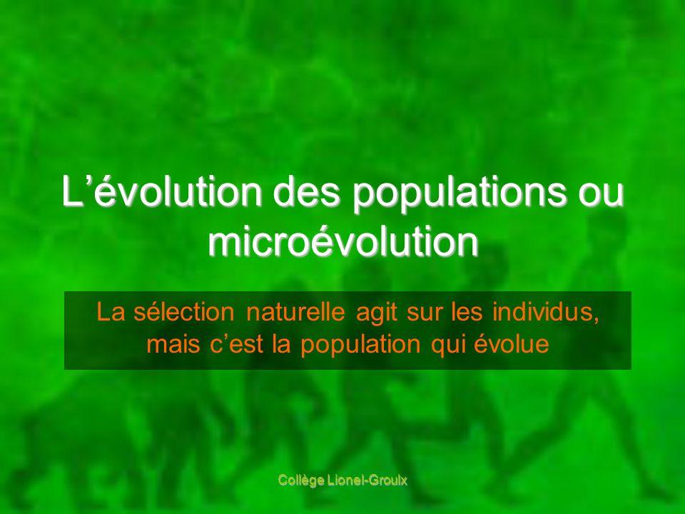 Collège Lionel-Groulx Lévolution des populations ou microévolution La sélection naturelle agit sur les individus, mais cest la population qui évolue