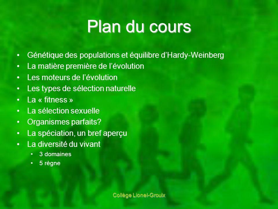 Plan du cours Génétique des populations et équilibre dHardy-Weinberg La matière première de lévolution Les moteurs de lévolution Les types de sélectio