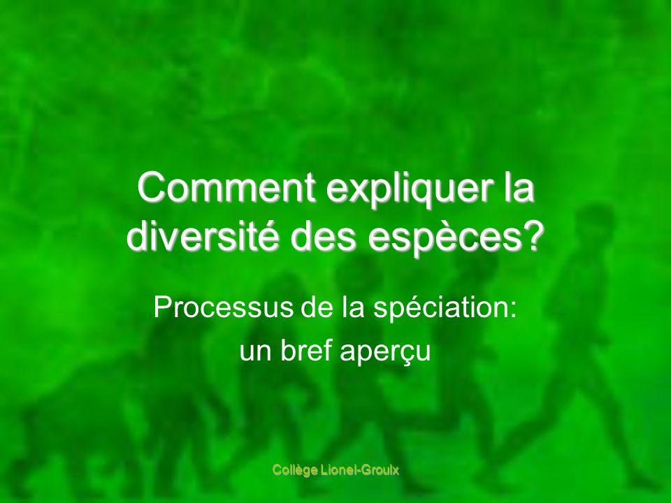 Comment expliquer la diversité des espèces? Processus de la spéciation: un bref aperçu Collège Lionel-Groulx