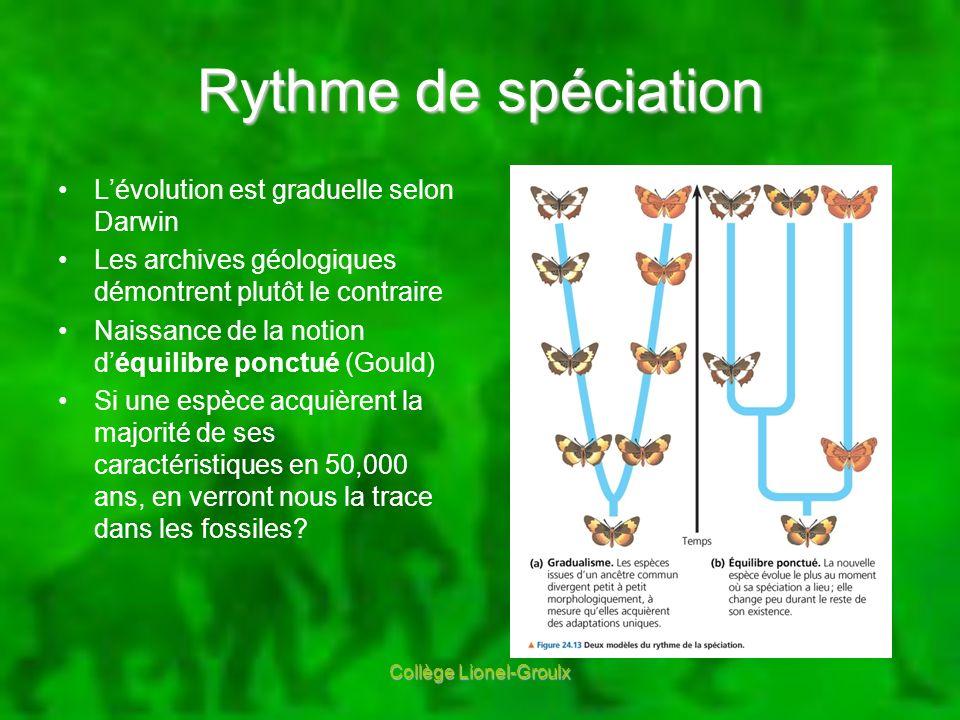 Rythme de spéciation Lévolution est graduelle selon Darwin Les archives géologiques démontrent plutôt le contraire Naissance de la notion déquilibre p
