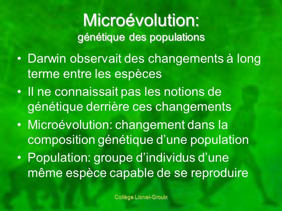 Microévolution: génétique des populations Darwin observait des changements à long terme entre les espèces Il ne connaissait pas les notions de génétiq