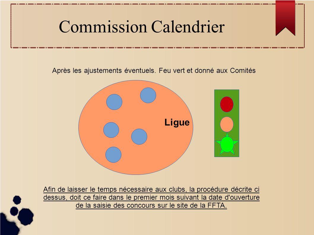 Commission Calendrier Ligue Après les ajustements éventuels.