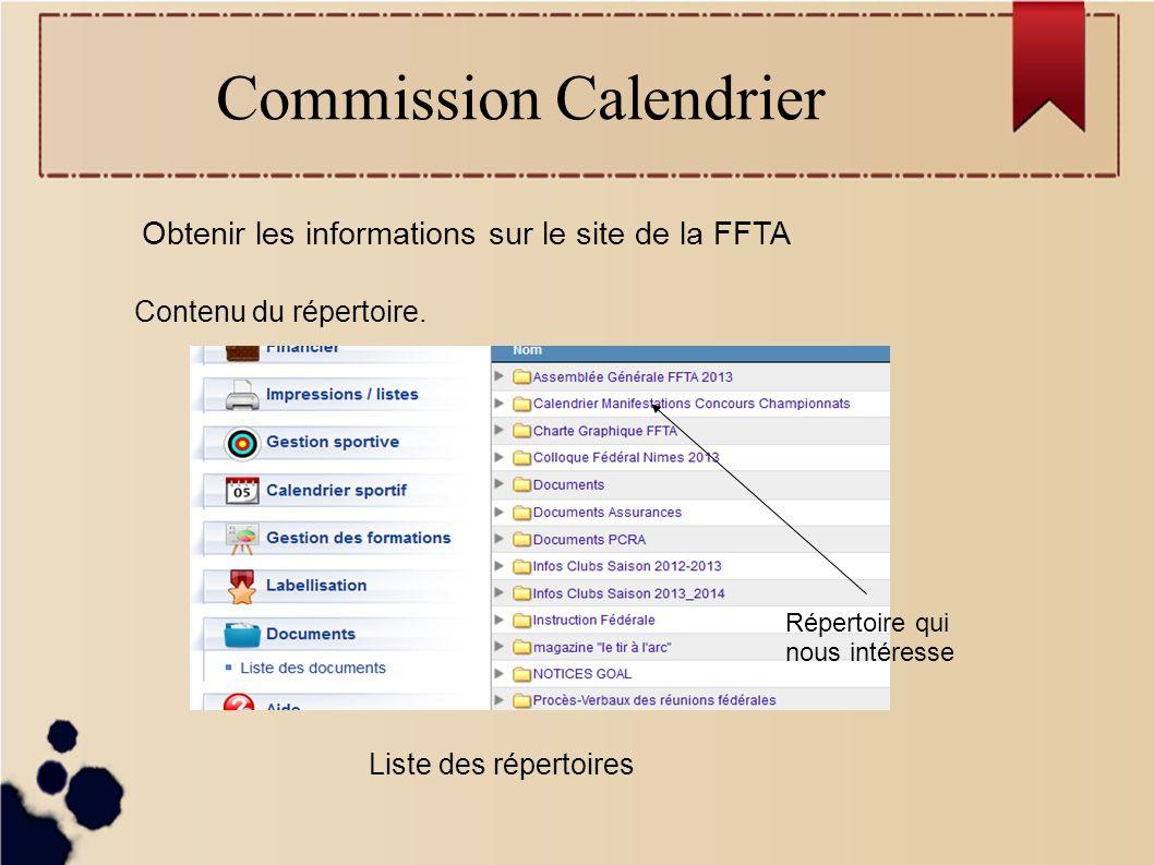 Commission Calendrier Obtenir les informations sur le site de la FFTA Contenu du répertoire.