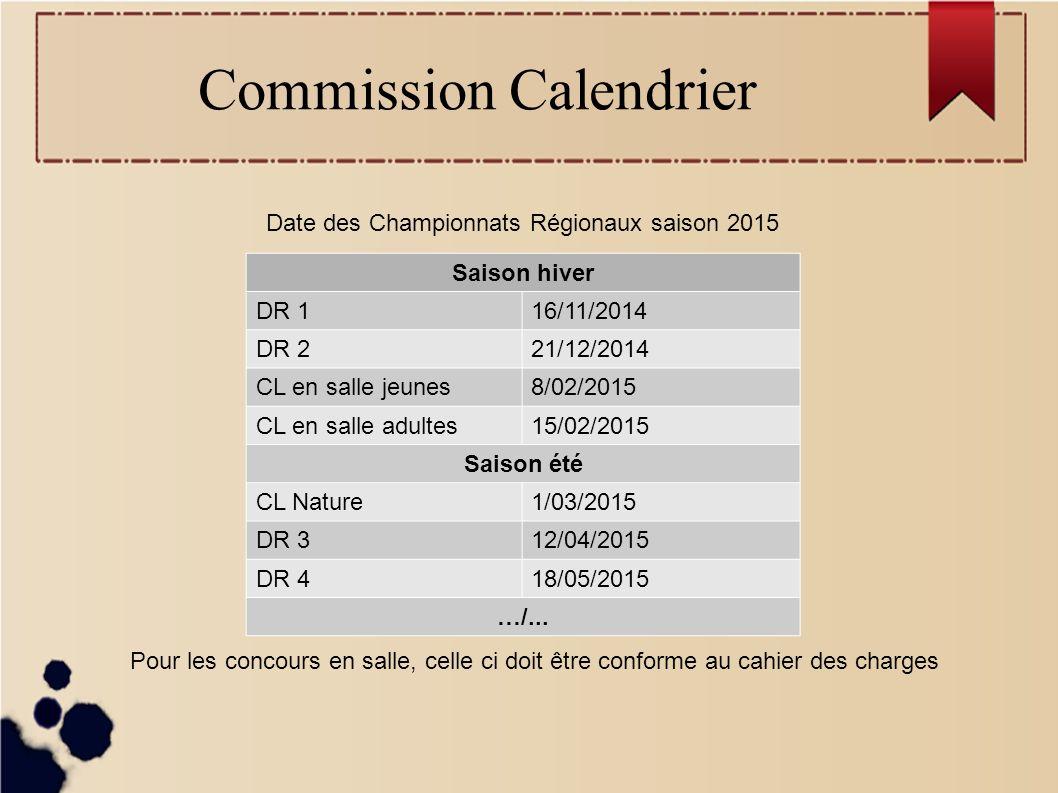 Commission Calendrier Date des Championnats Régionaux saison 2015 Saison été suite CL Campagne07/06/2015 DRE 131/05/2015 DRE 216/06/2015 DRE 328/06/2015 CL FITA19/07/2015 CL Fédéral02/08/2015 CL 3D02/08/2015 TRJ 123/04/2015 TRJ 224/05/2015