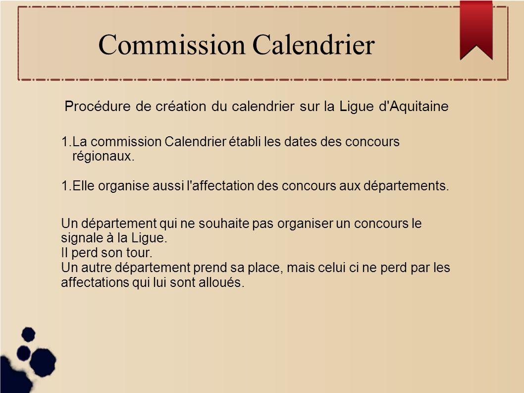 Commission Calendrier Clubs Les clubs réfléchissent aux dates de leurs concours