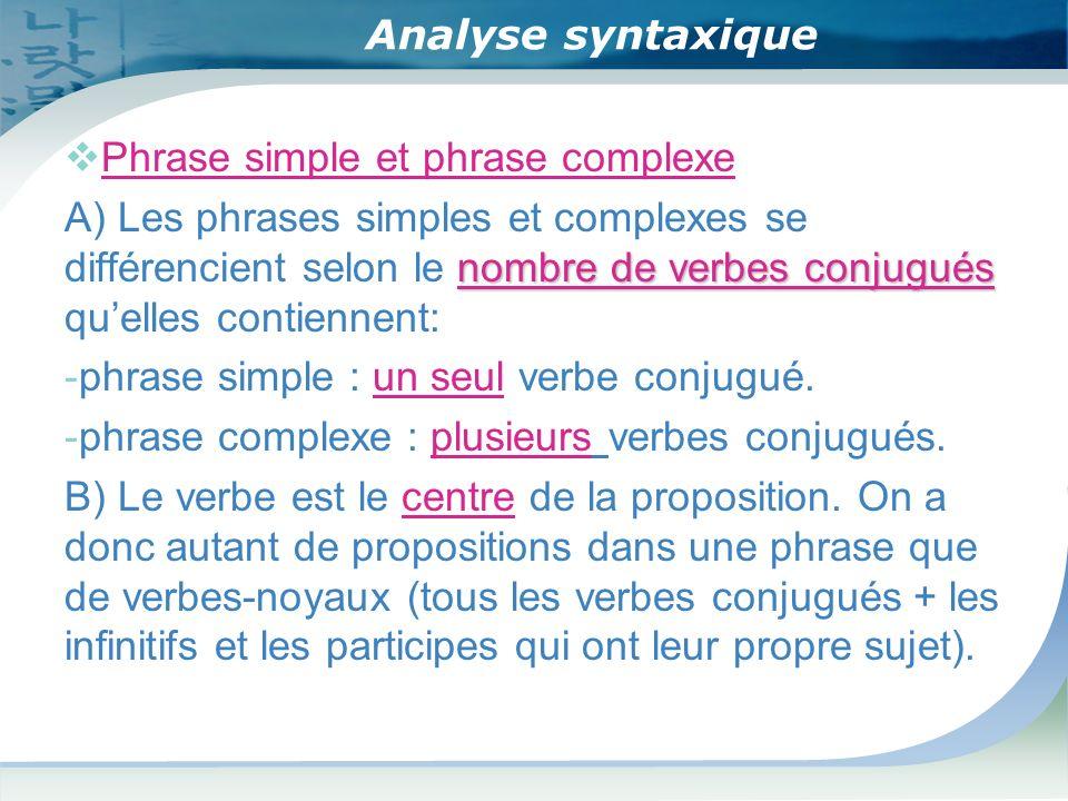 Analyse syntaxique Phrase simple et phrase complexe nombre de verbes conjugués A) Les phrases simples et complexes se différencient selon le nombre de verbes conjugués quelles contiennent: -phrase simple : un seul verbe conjugué.