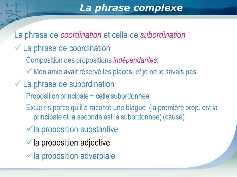 La phrase complexe La phrase de coordination et celle de subordination La phrase de coordination Composition des propositions indépendantes : Mon amie avait réservé les places, et je ne le savais pas.