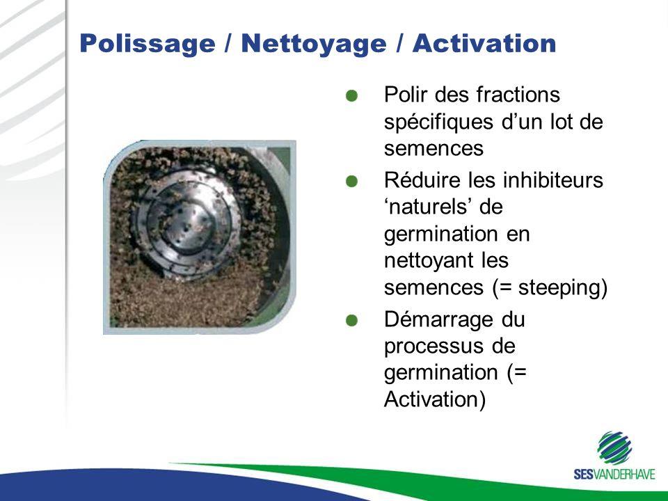 Polissage / Nettoyage / Activation Polir des fractions spécifiques dun lot de semences Réduire les inhibiteurs naturels de germination en nettoyant les semences (= steeping) Démarrage du processus de germination (= Activation)
