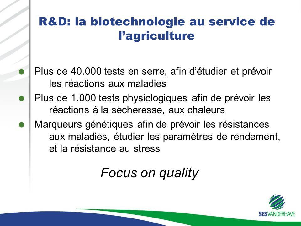 R&D: la biotechnologie au service de lagriculture Plus de 40.000 tests en serre, afin détudier et prévoir les réactions aux maladies Plus de 1.000 tests physiologiques afin de prévoir les réactions à la sècheresse, aux chaleurs Marqueurs génétiques afin de prévoir les résistances aux maladies, étudier les paramètres de rendement, et la résistance au stress Focus on quality