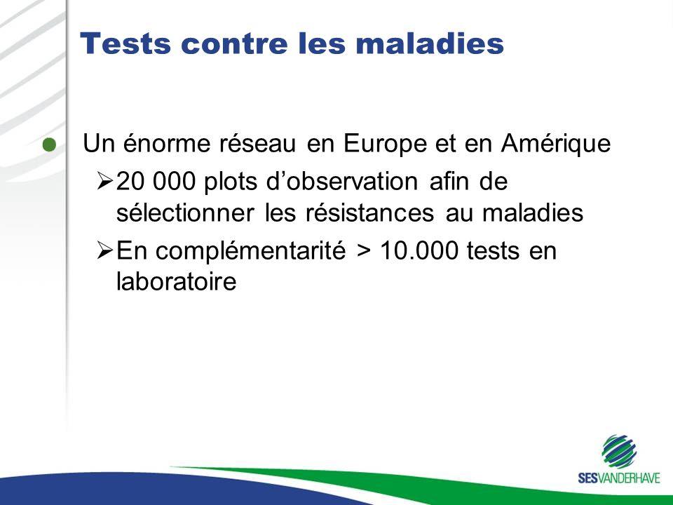 Tests contre les maladies Un énorme réseau en Europe et en Amérique 20 000 plots dobservation afin de sélectionner les résistances au maladies En comp