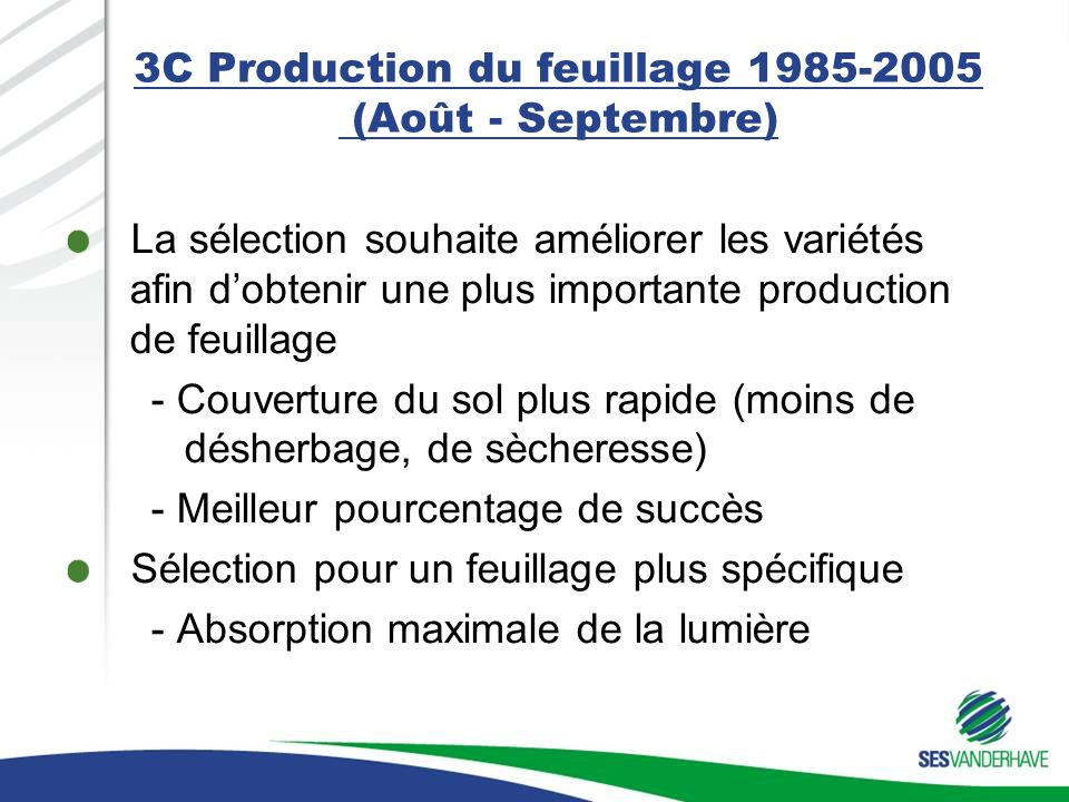3C Production du feuillage 1985-2005 (Août - Septembre) La sélection souhaite améliorer les variétés afin dobtenir une plus importante production de feuillage - Couverture du sol plus rapide (moins de désherbage, de sècheresse) - Meilleur pourcentage de succès Sélection pour un feuillage plus spécifique - Absorption maximale de la lumière