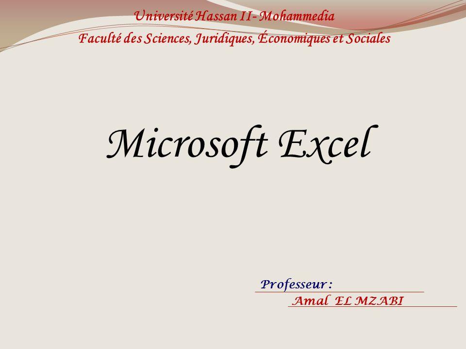 Microsoft Excel Université Hassan II- Mohammedia Faculté des Sciences, Juridiques, Économiques et Sociales Professeur : Amal EL MZABI